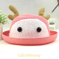 promotional kids infant baby pink paper straw hat with deer horn