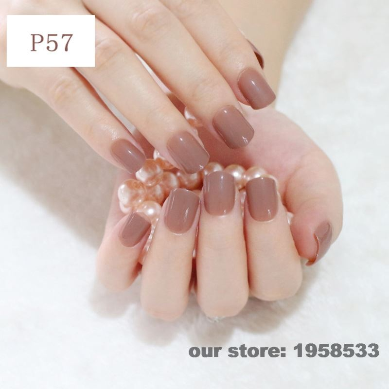 Fashion Brown Coffee Office False Nail Art Tips Full Cover Fake Nails Decoration Patch Manicure Tips Accessory Daily Use P57