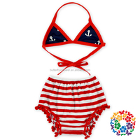 Wholesale kids clothing girls 4th of july clothing Red White Blue Stars Bikini set On Sale