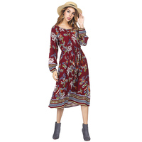 Beach Fashion Casual Wine Red Flared Long Sleeves With Pocket Midi Dress Women