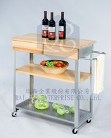 """Kitchen Equipment 2015 New Product - Hot Sales"" 1 Wood Shelving and 1 Punching Shelving with Top Two Timber Drawer Trolley"
