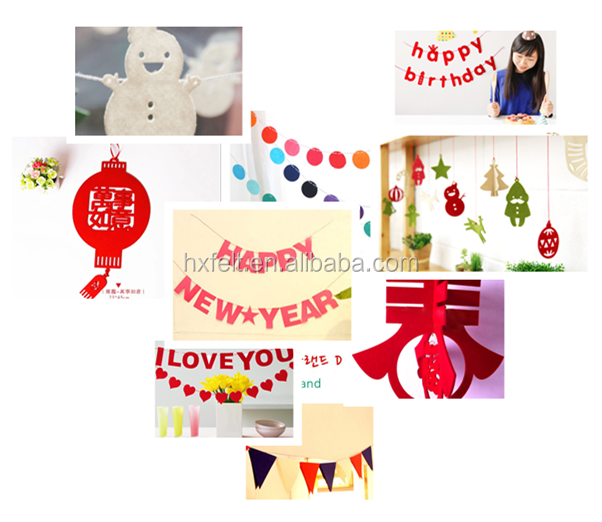 Hot! felt garland for happy birthday party decorations