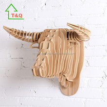 DIY Wooden Bull Crafts Gift Wall Paintings Animal heads 3D Wall home decor wholesale
