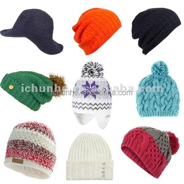2016 new fashion winter knitted adult beanie in pink