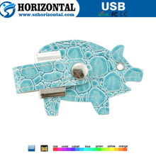 New product Alligator Pattern light blue leather USB memory stick with LOGO