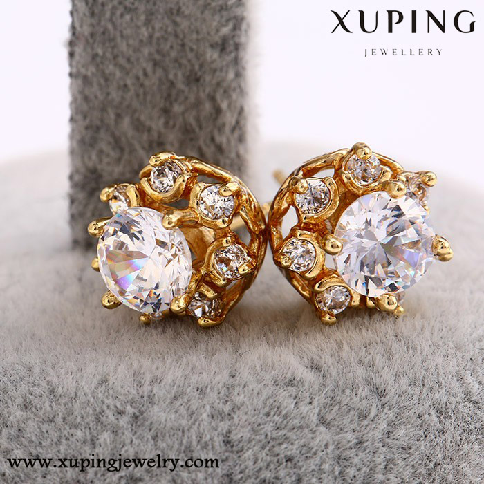 26529 xuping stud earring, 14k gold color crystal earring, gemstone earring