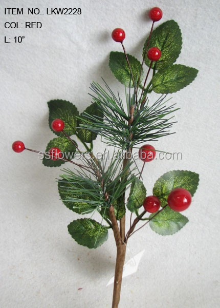 "newest special artificial holly leaves pine needle and foam red berry pick 10"" branches pick for chrismas home decoration pick"