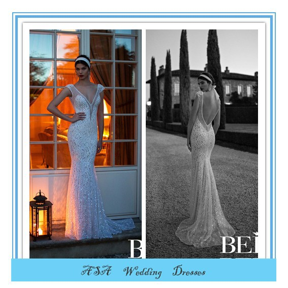 Latest Modern High Quality Sexy Mermaid Wedding Dress Berta Bridal Deep V-neck Backless Lace Wedding Dresses 2015(BTB23)