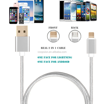 2 in 1multipurpose charger cable for iphone and android