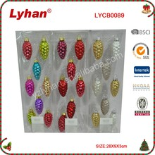 mini colourful glass pine cone for Christmas tree decoration