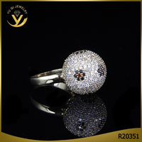 Geometric Design Fine Copper Jewelry, Modern Hip Hop Design Micro Pave Ball Ring
