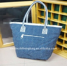 Blue Casual Canvas Tote Bag With Leather Handles