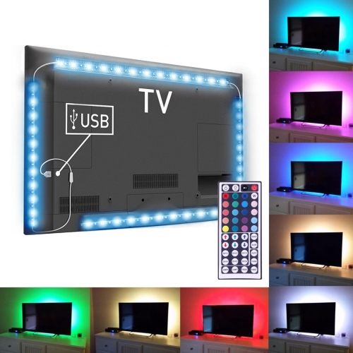 3W Epoxy IP65 Waterproof 30 LEDs SMD 5050 USB TV Rope Light with 44-keys Remote Controller, Length: 4 x 50cm, Wide: <strong>10mm</strong>(Colorfu