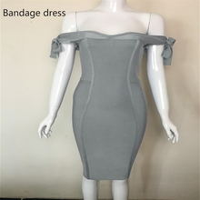 Women wholesale slate grey off the shoulder Summer bandage dress Sexy backless prom party Dresses Casual dress