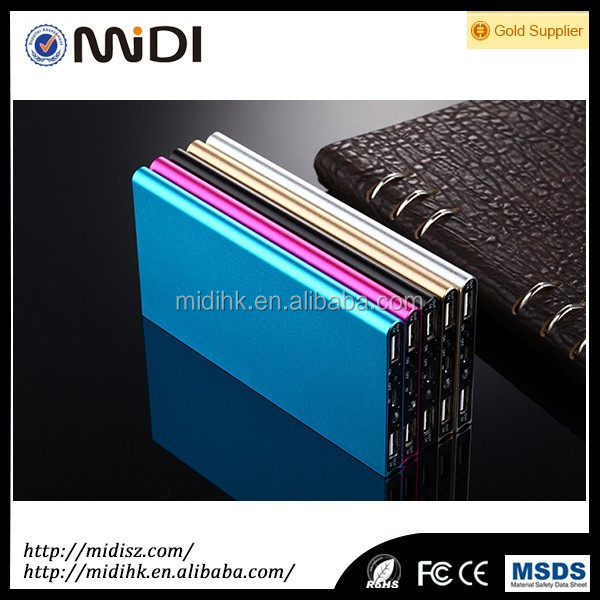 2016 new portable square slim power bank10000mah with led flashlight torch,support LOGO custom
