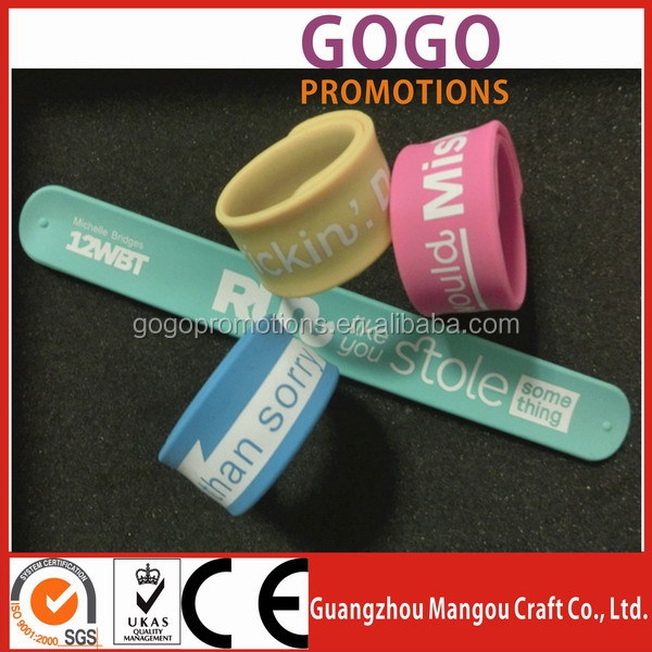 ruler silicone slap band wide slap bracelet Factory Customized printed silicone spring slap band for child