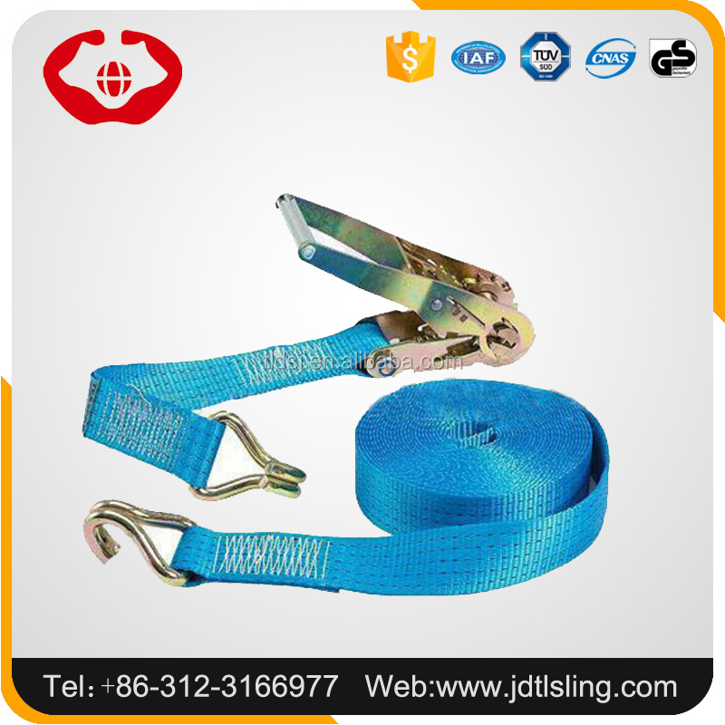 Cargo belt lashing straps tie down/ratchet buckle belt double J hook