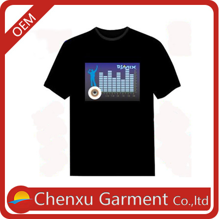 customized led t shirt own logo light up t-shirt LED for all party high quality 100% pure cotton flashing el shirt
