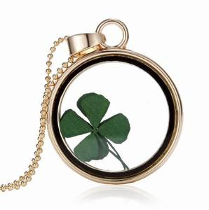 YH186 Huilin Real Four Leaf Clover Necklace Emerald Green Shamrock Glass Pendant Necklace Irish Jewelry Good Luck Necklace