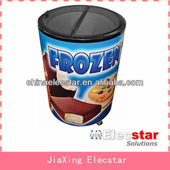 Can Shaped Engergy Drink Fridge, Round cooler, Glass door Barrel Freezer/can freezer For Ice Cream Merchandising