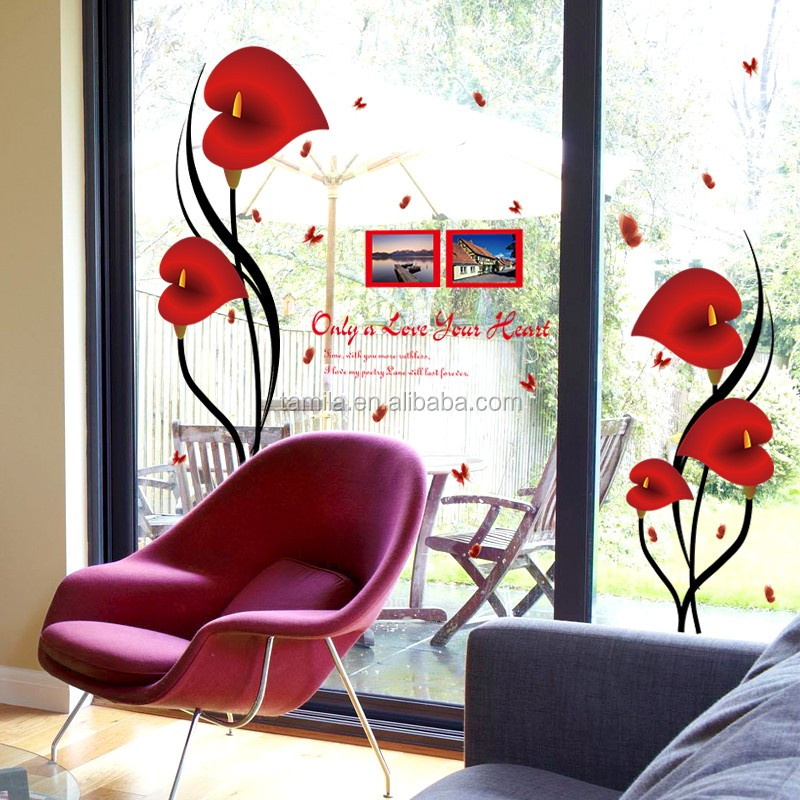 Wall decal photo frame heart shape flower sticker for room decoration