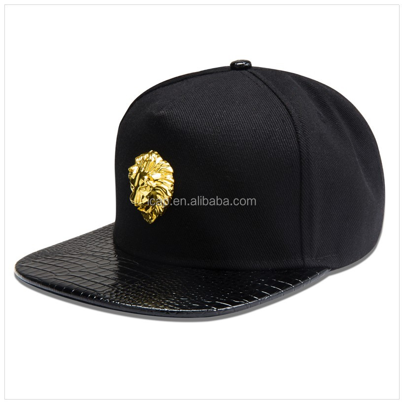Meta lLion Head Hats Adjustable Hiphop Flat Brimmed Cap Snapback Caps Women Men Personalized factory sholesale d PU Leather H