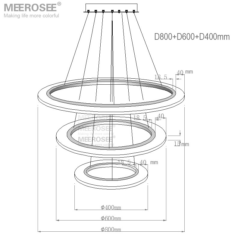 3 Rings Contemporary Pendant Lights LED Lamp Pendant Light Fittings 3 Years Warranty MD5057-3R