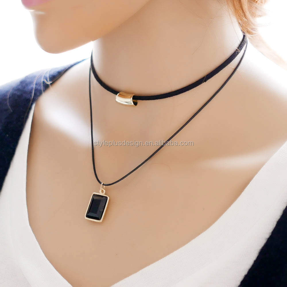 N3528 New fashion lady double layer necklace square shape crystal pendant fine choker 18k chain cloth boho chic