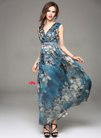 Polyester Cotton With Print maxi women casual one piece dress