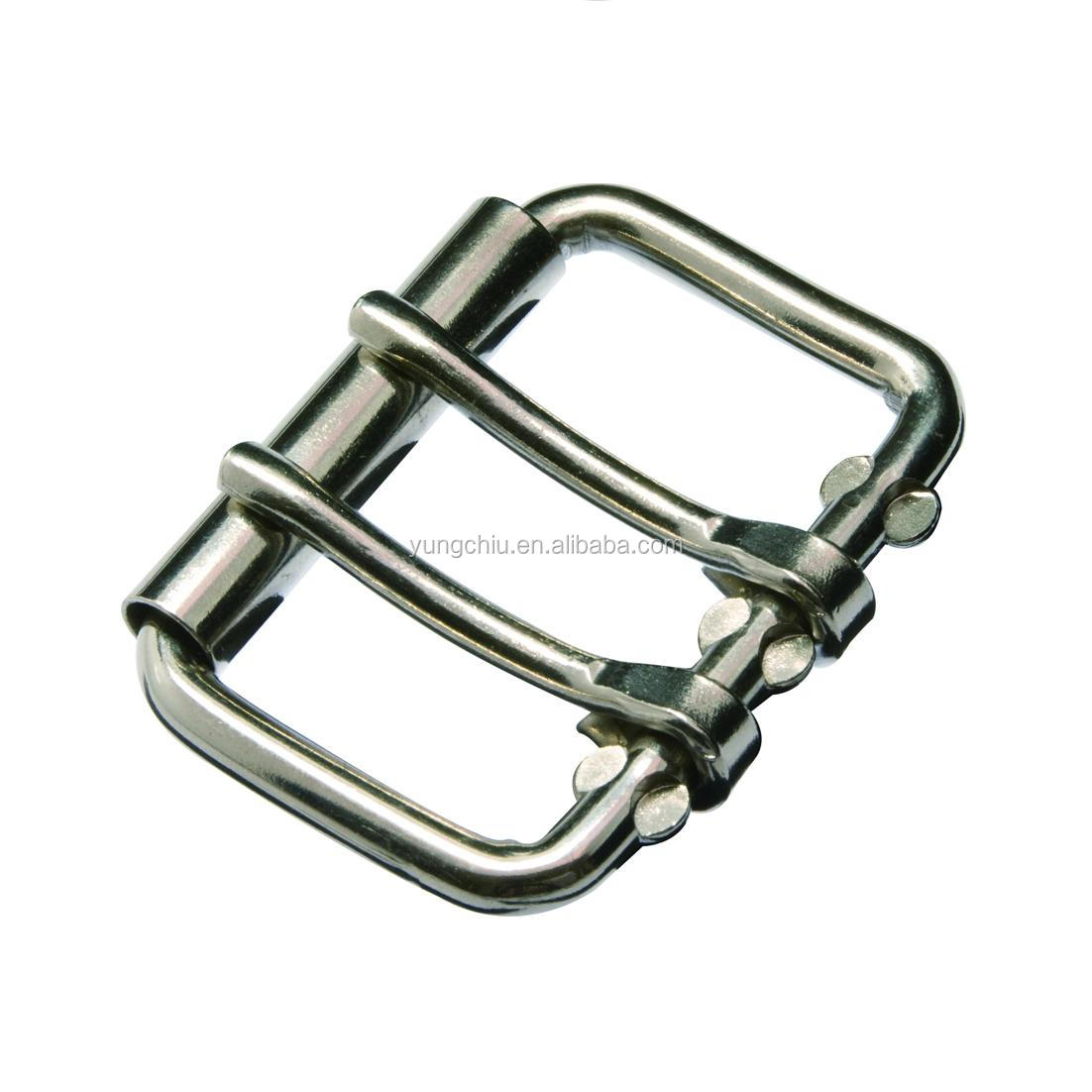 Vintage metal 2 pins rectangle roller buckle for dog collar equestrian