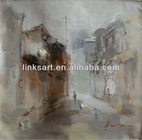 modern art painting wall paint impression Village street scenery