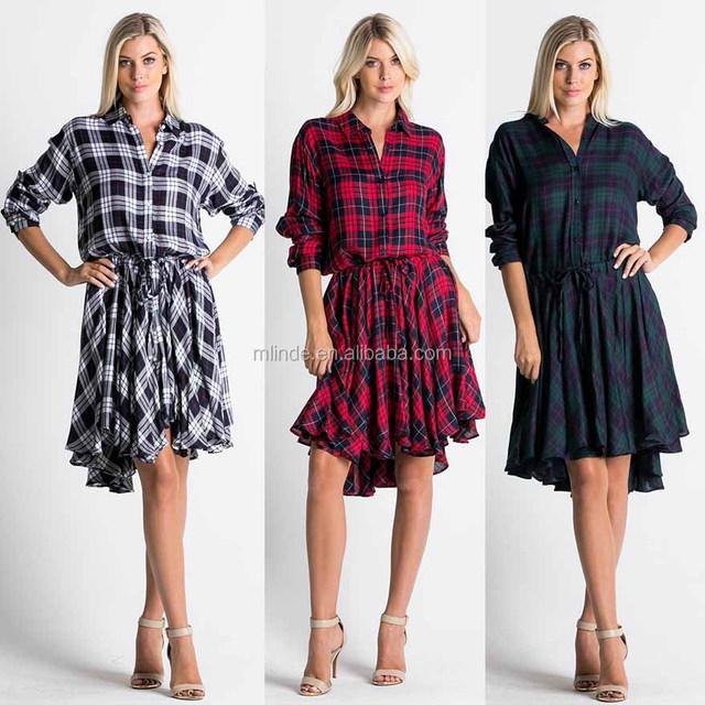 100% RAYON FASHION PLAID PRINT SHIRT FLARING LADIES CHECK DRESS WITH WAIST TIE