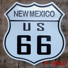 New Mexico US 66 Irregular Metal Tin Sign Embossed Garage Pub House Office Restaurant Bar iron Paintings