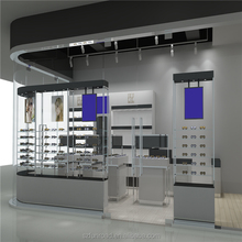 Sunglass retail shop interior design with eyeglass display counter and optical display glasses shelf