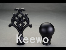 keewo 2017 latest designs window decorative Finials curtain rod end and caps and accessories