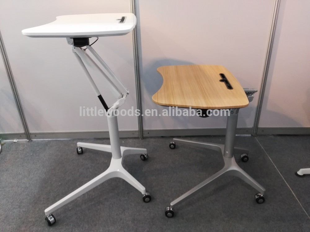 One Column Gas Lift Mechanism Height Adjustable Table For