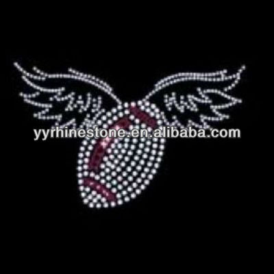 winged rugby heat press rhinestone transfers