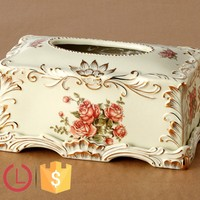 Decorative Porcelain ivory and rose design Tissue box for napkin paper