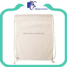 Well promotion white plain cotton draw string bag