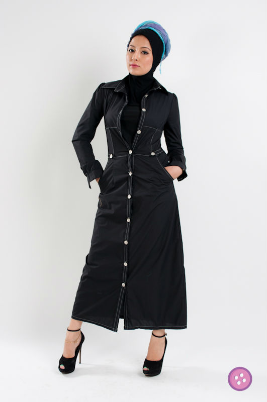 Long Sleeve Button Abaya Jubah Muslim Dress FJ0180
