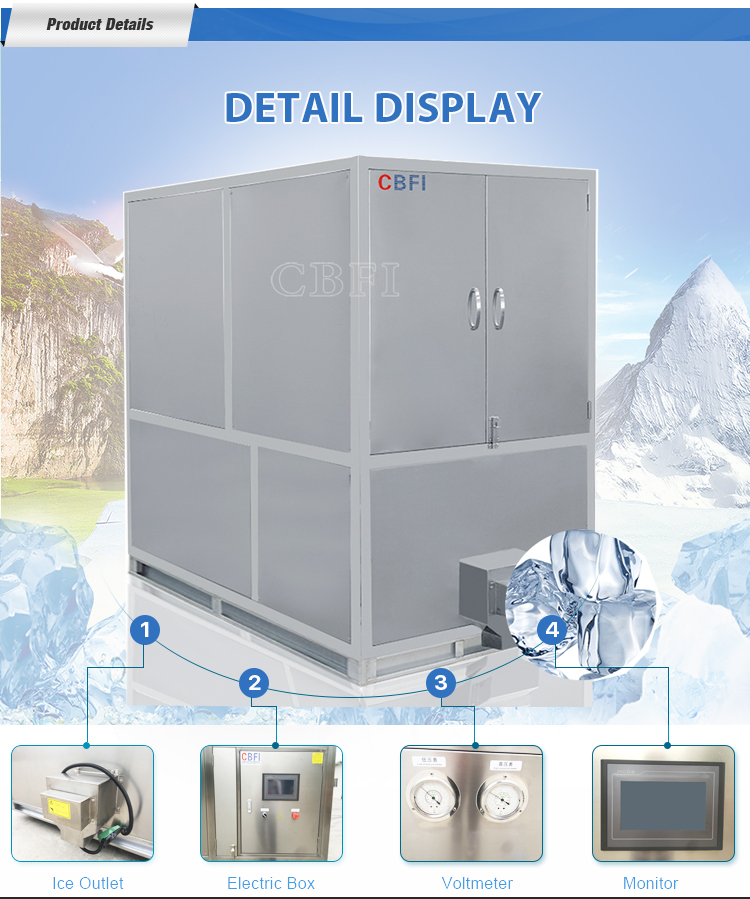 Fully automatic PLC control stainless steel cube ice making machine cube ice maker