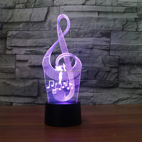 DJ-1004 G clef Shape Creative 3D Illusion Lamp for Valentine's Day
