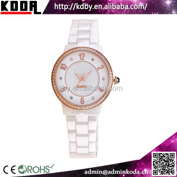 Luxury Stainless Steel Case Back Vive Ceramic Watch