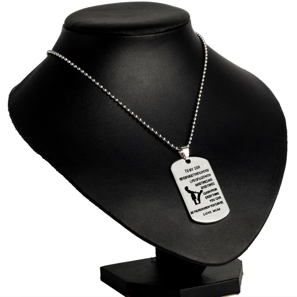 To My Son Mom Fashion Pendant Inspire Letters Satinless Steel Military Necklace Dog Tag With Chain