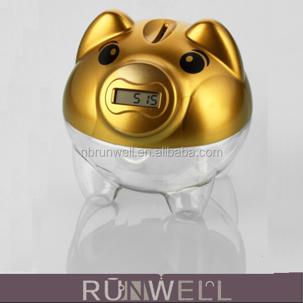 Digital coin counting large plastic piggy bank