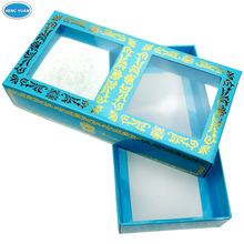 High quality paper cosmetic box packaging with clear window and insert tray