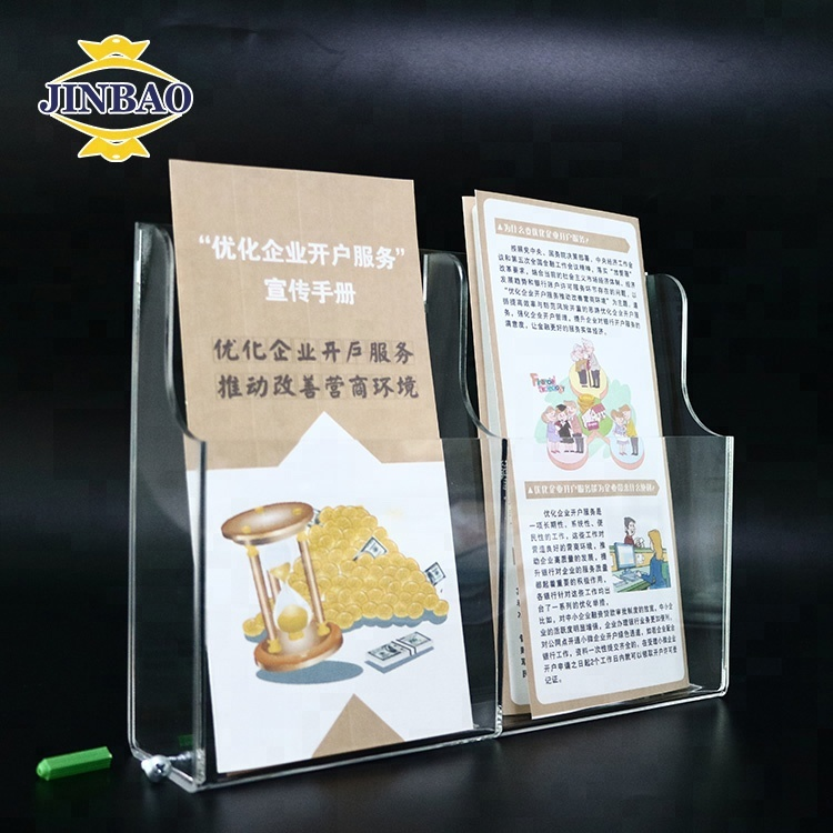 JINBAO Stacked Single <strong>Acrylic</strong> A4 Magazine Brochure Clear Holder For Display Company Card A4 Perspex <strong>Acrylic</strong> Brochure Holders