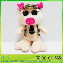 latest model stuffed handsome pig with sunglasses and tie with big feet