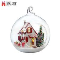 DIY Wooden Dollhouse Miniature 3D Handwork Model Kit In Glass Ball LED Light G10