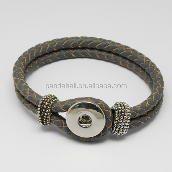 Braided Leather Snap Button Interchangeable Bracelet(AJEW-<strong>R022</strong>-05)